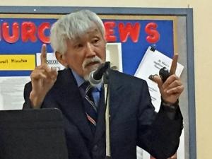 Prof .Ed Ishiguro speaking to NW Bay Probus